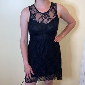 LIKENEW Sexy and sweet lace black high low dress